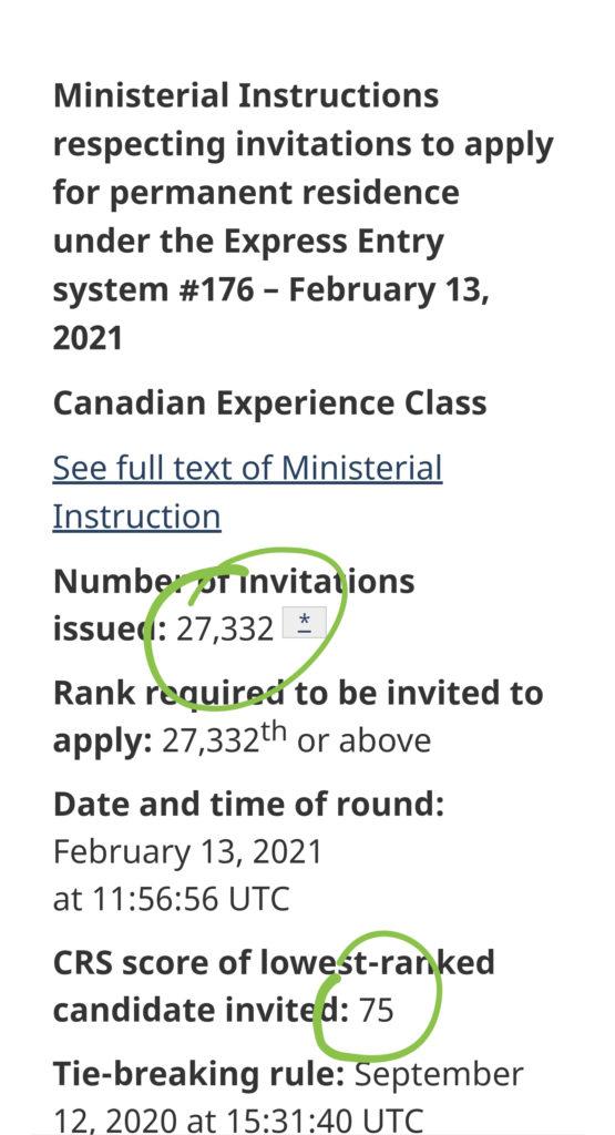Express Entry Draw 176, CRS Cutoff 75, 27,332 Invitations